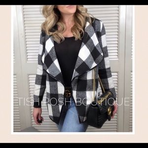 Jackets & Blazers - CARINA buffalo plaid waterfall jacket